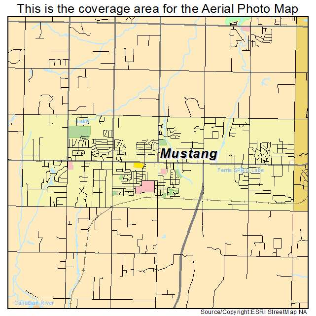 Aerial Photography Map Of Mustang Ok Oklahoma