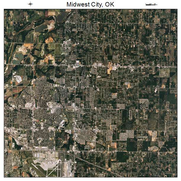 Aerial Photography Map of Midwest City OK Oklahoma