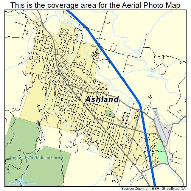 Ashland Oregon Street Map Aerial Photography Map of Ashland, OR Oregon