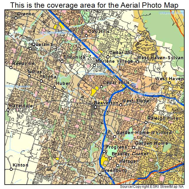 Aerial Photography Map Of Beaverton Or Oregon