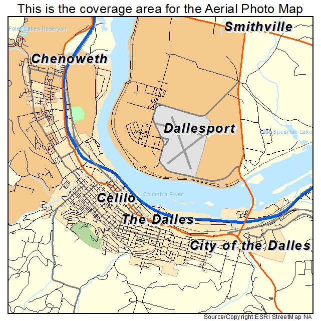Aerial Photography Map Of City Of The Dalles Or Oregon