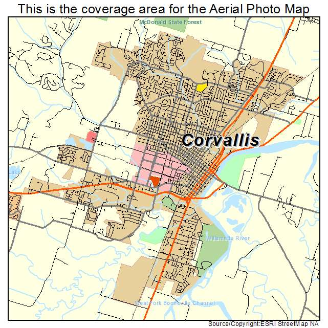 Aerial Photography Map of Corvallis OR Oregon