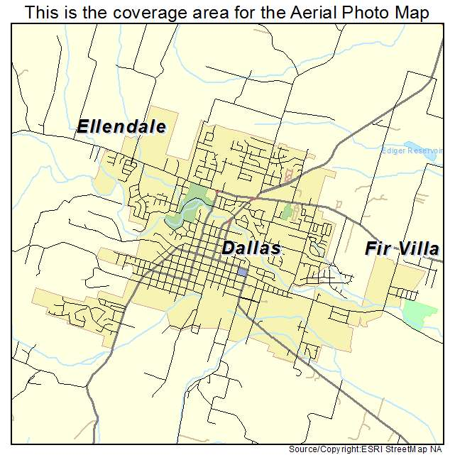 Aerial Photography Map Of Dallas OR Oregon