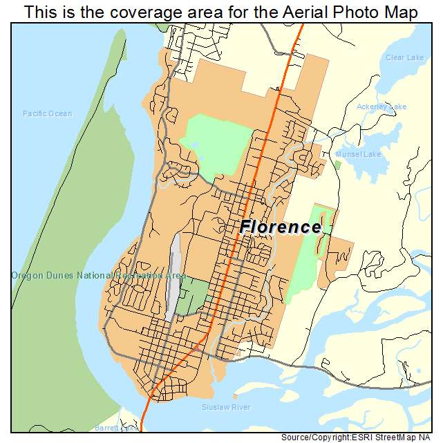 Aerial Photography Map Of Florence Or Oregon