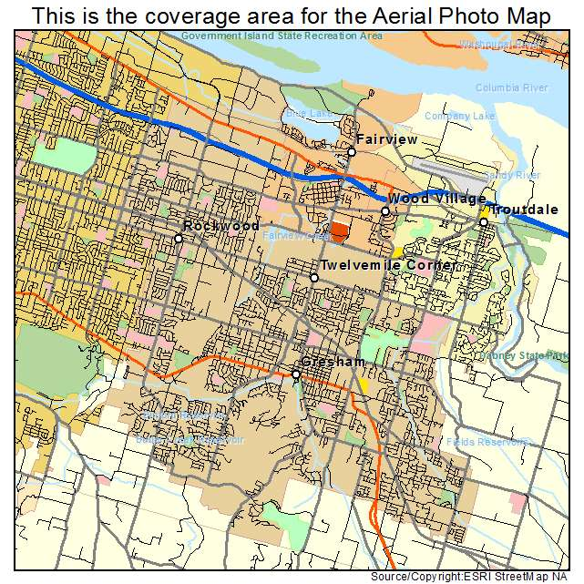 Aerial Photography Map of Gresham OR Oregon