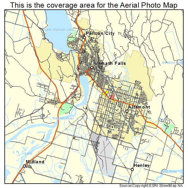 Aerial Photography Map Of Klamath Falls Or Oregon