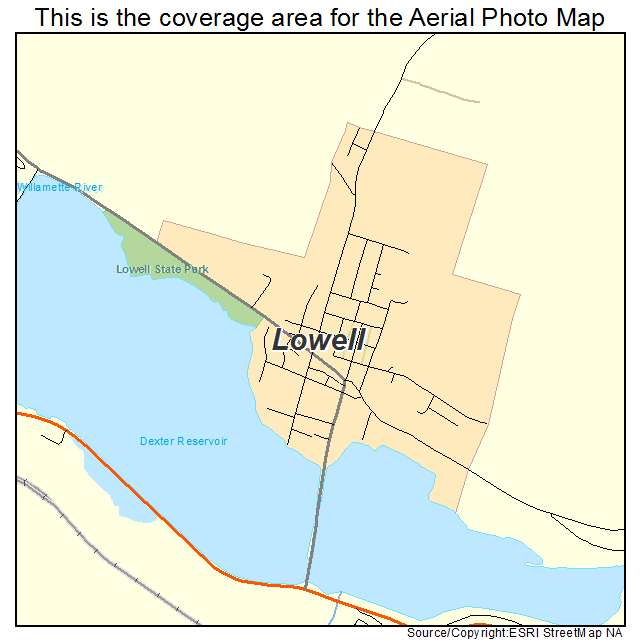 Lowell Oregon Map.Aerial Photography Map Of Lowell Or Oregon