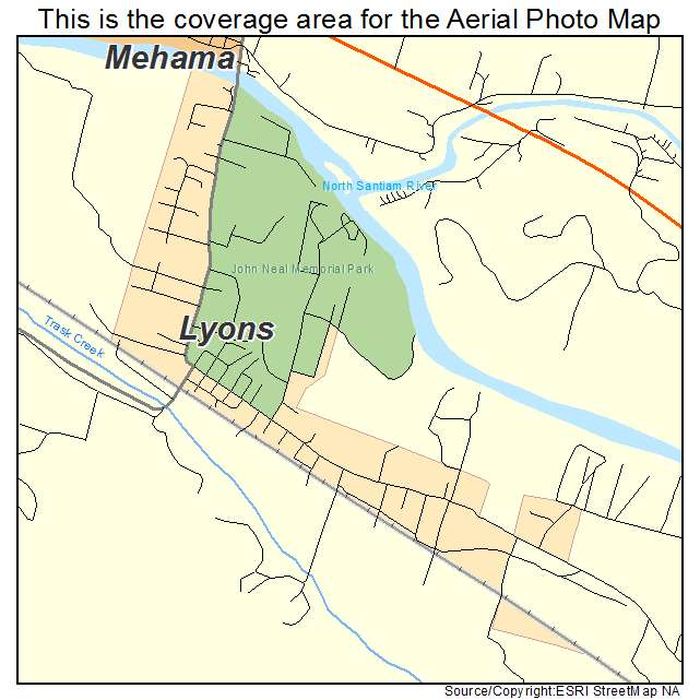 Lyons, OR Oregon Aerial Photography Map 2014 on
