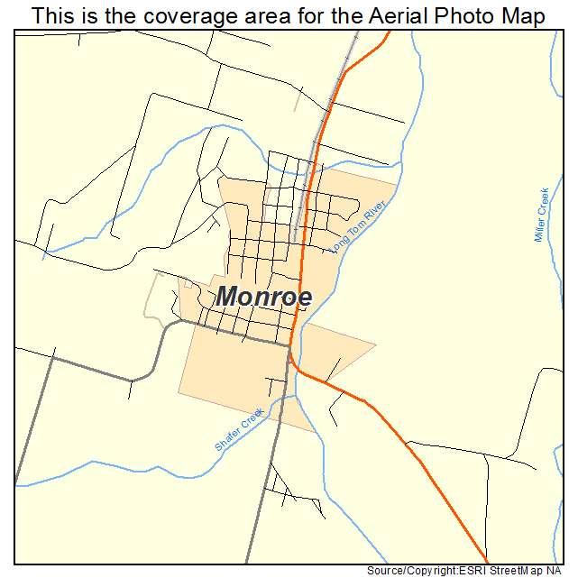 Monroe Oregon Map Aerial Photography Map of Monroe, OR Oregon
