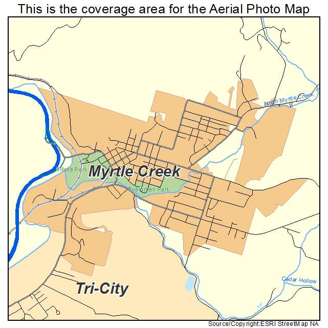 Myrtle Creek Or Oregon Aerial Photography Map 2014