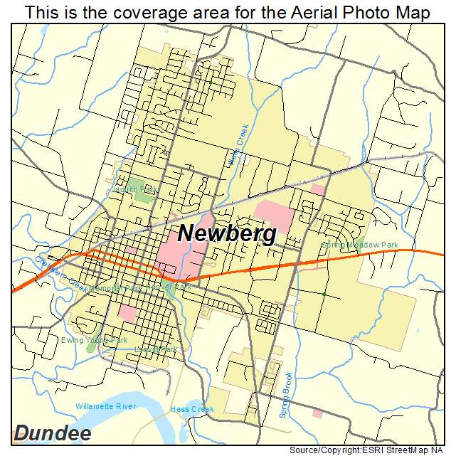 Newberg Oregon Map Aerial Photography Map of Newberg, OR Oregon