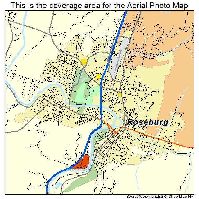 Aerial graphy Map of Roseburg OR Oregon