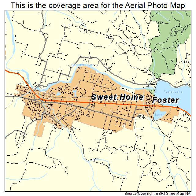 Sweet Home Or Oregon Aerial Photography Map 2014