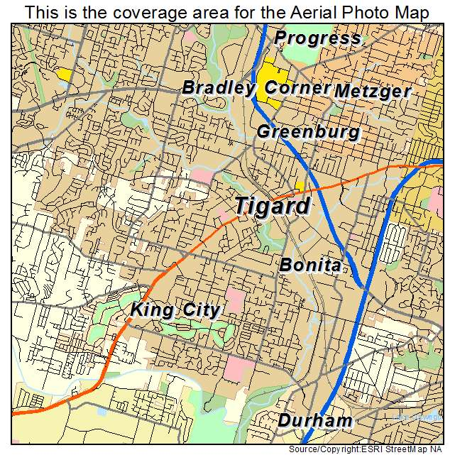 Map Of Tigard Oregon Aerial Photography Map of Tigard, OR Oregon
