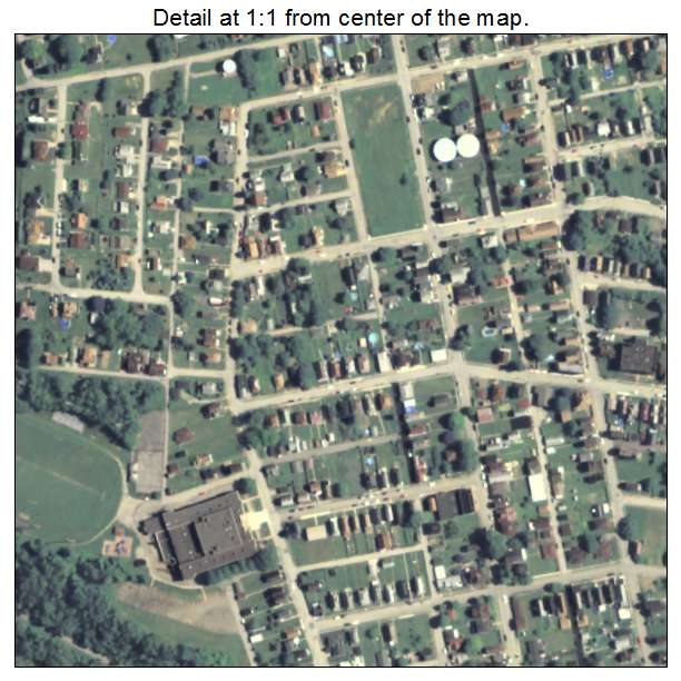 Donora, Pennsylvania aerial imagery detail