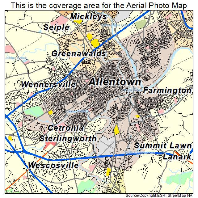 Allentown Pa Map Aerial Photography Map of Allentown, PA Pennsylvania