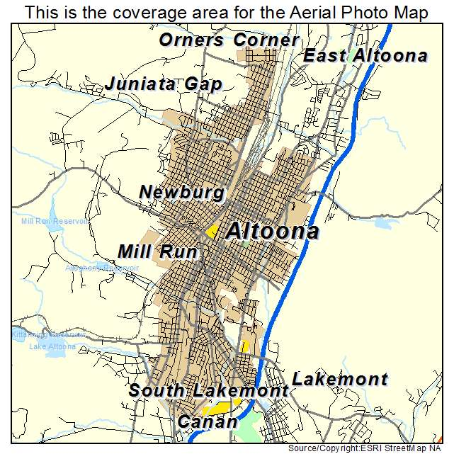 Aerial Photography Map of Altoona PA Pennsylvania