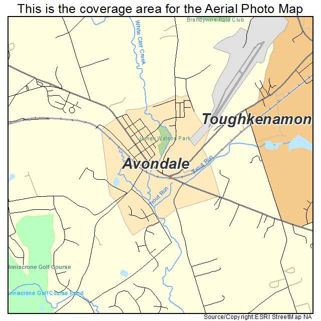 Aerial Photography Map of Avondale PA Pennsylvania