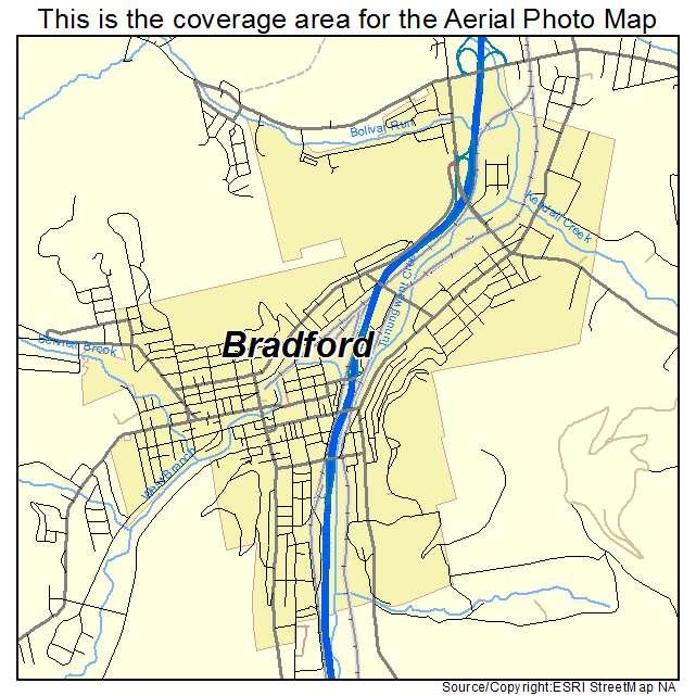 Aerial Photography Map of Bradford PA Pennsylvania