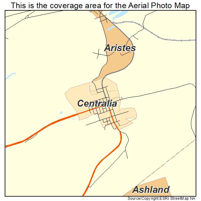 Aerial Photography Map of Centralia, PA Pennsylvania on