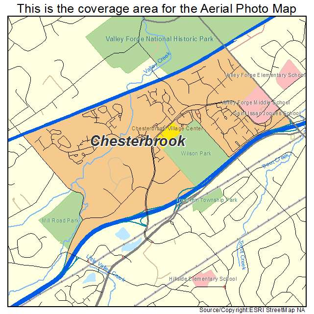 Aerial Photography Map of Chesterbrook, PA Pennsylvania on