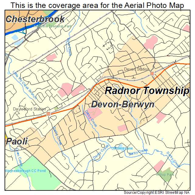Aerial Photography Map of Devon Berwyn PA Pennsylvania