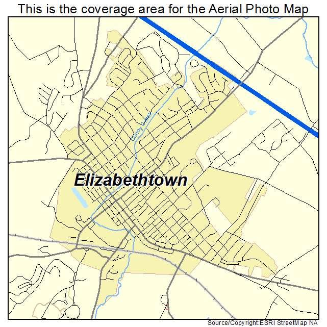 Aerial Photography Map of Elizabethtown PA Pennsylvania
