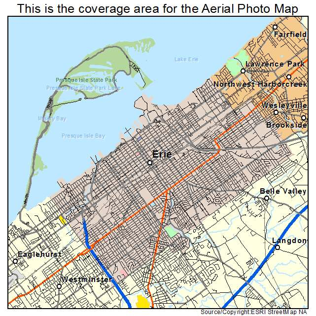 Aerial Photography Map of Erie PA Pennsylvania