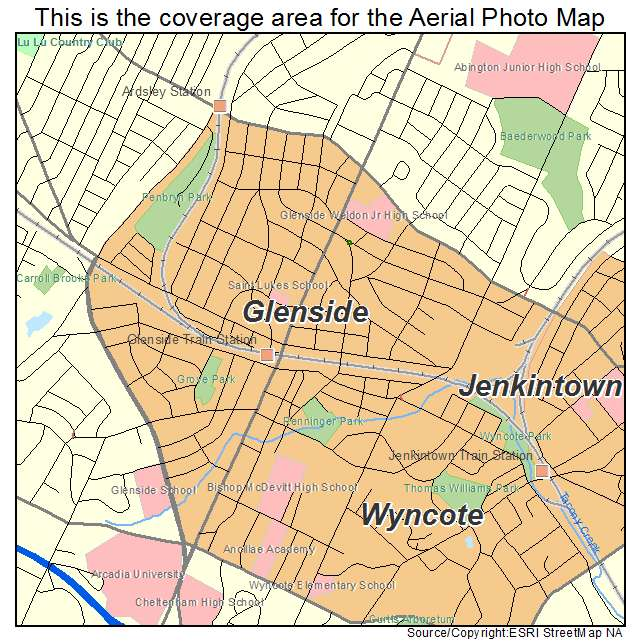 Aerial Photography Map of Glenside, PA Pennsylvania