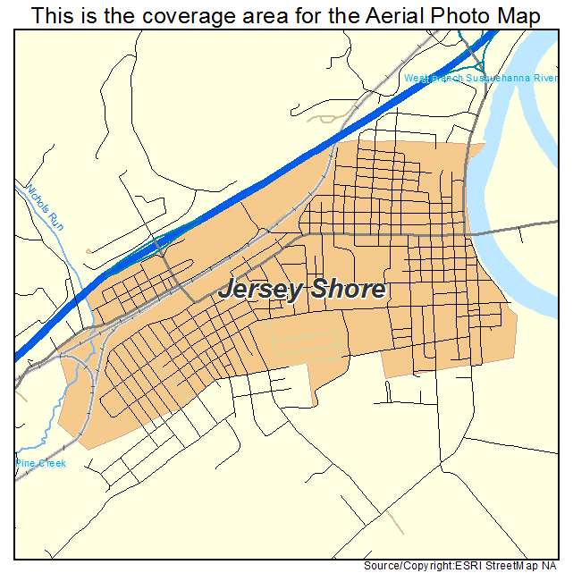 Aerial Photography Map of Jersey Shore PA Pennsylvania