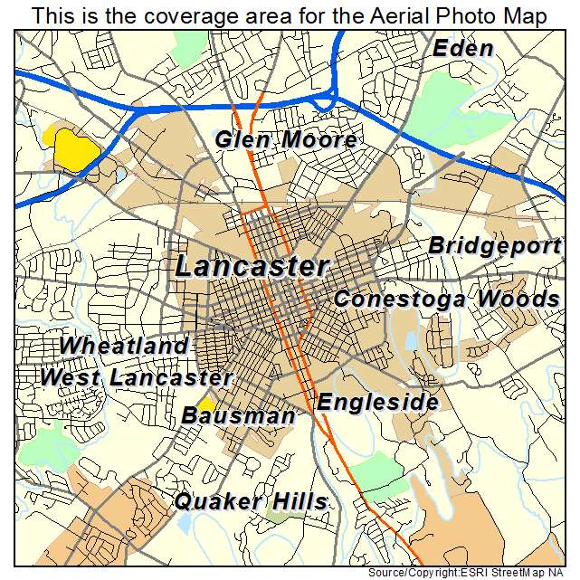 Aerial Photography Map Of Lancaster PA Pennsylvania