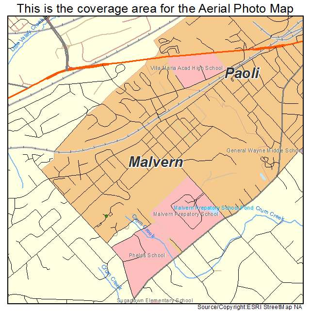 Aerial Photography Map Of Malvern PA Pennsylvania - Malvern Pennsylvania On Us Map