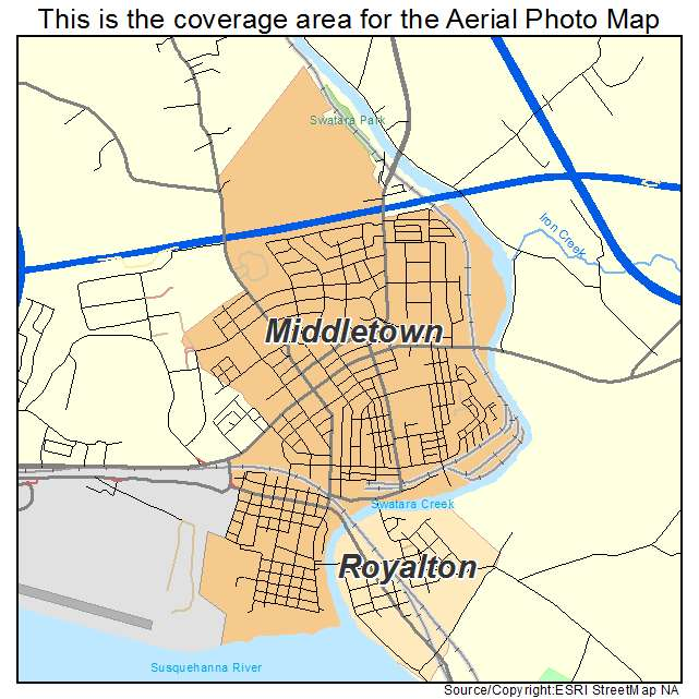 Aerial Photography Map of Middletown PA Pennsylvania