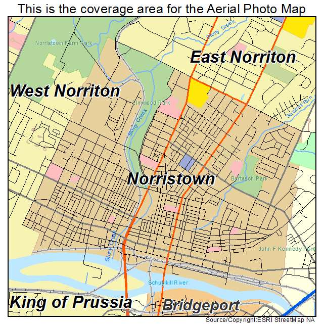 Aerial Photography Map of Norristown PA Pennsylvania