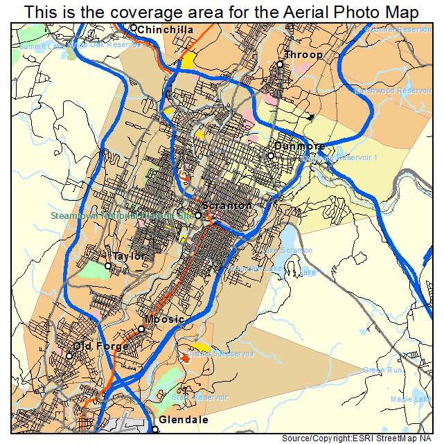 Aerial Photography Map of Scranton PA Pennsylvania
