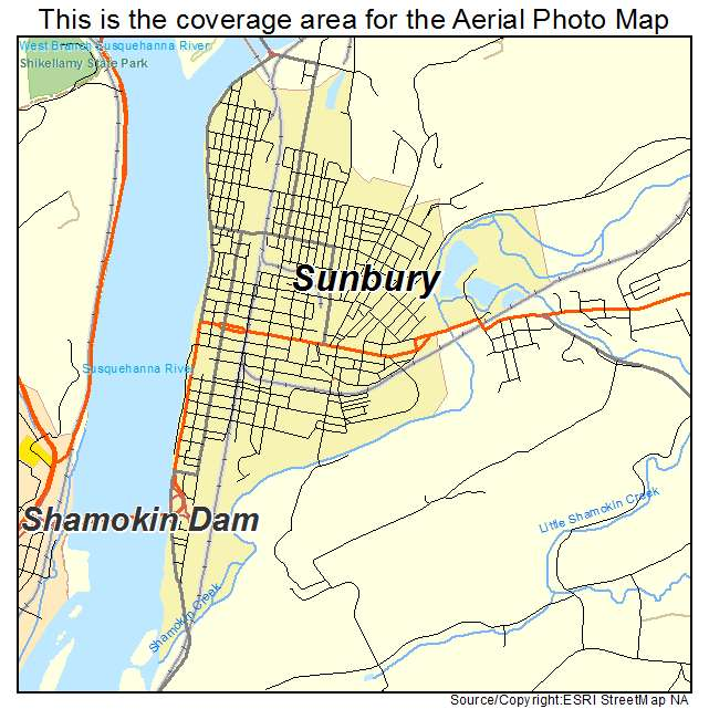 Aerial Photography Map of Sunbury PA Pennsylvania