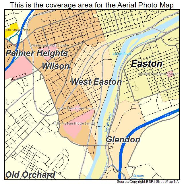 Aerial Photography Map Of West Easton PA Pennsylvania