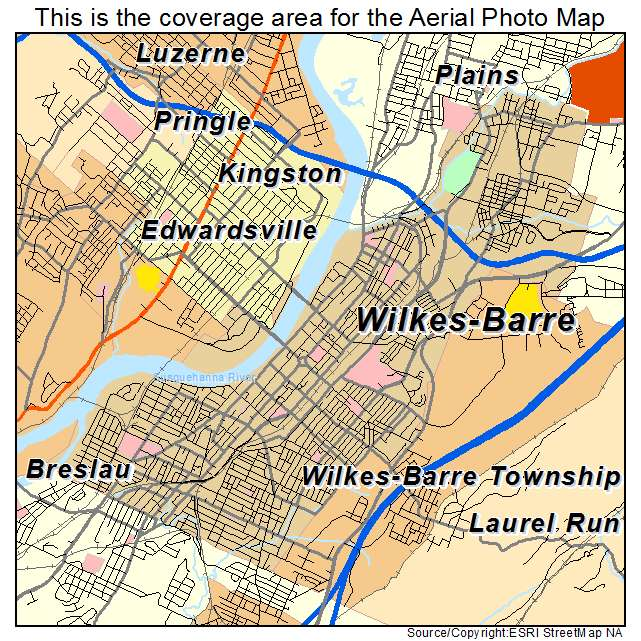 Aerial Photography Map of Wilkes Barre PA Pennsylvania