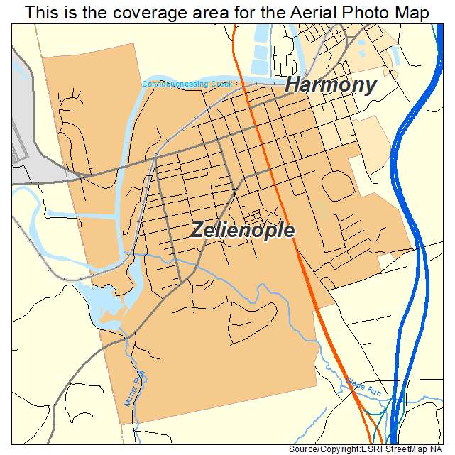 Zelienople, PA Pennsylvania Aerial Photography Map 2015 on