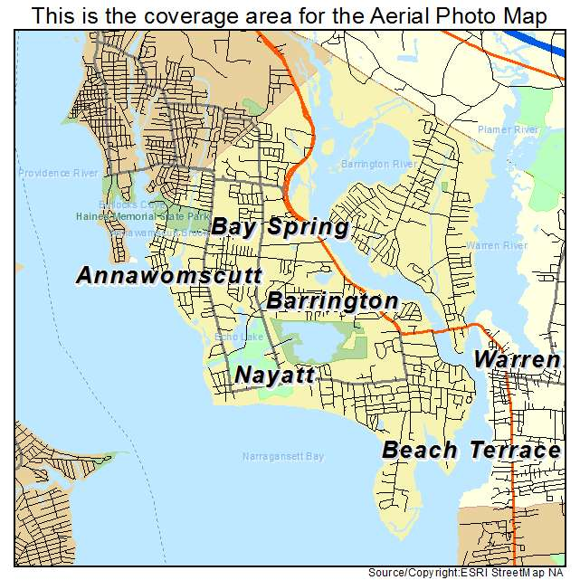Aerial Photography Map of Barrington RI Rhode Island