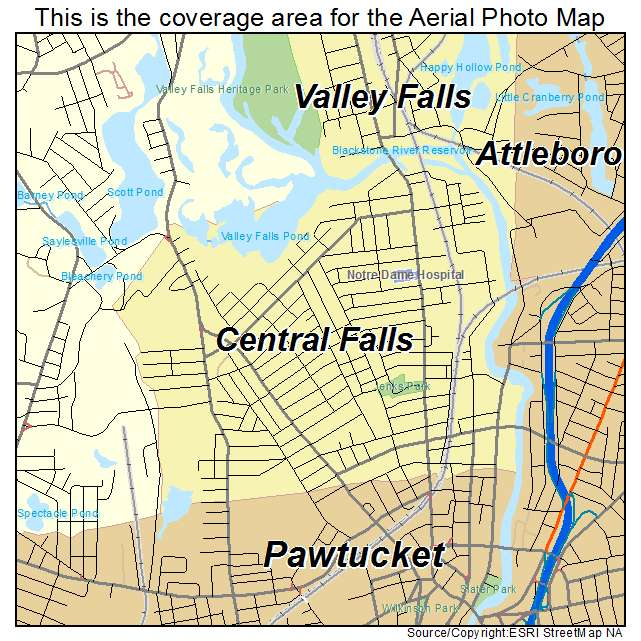 Aerial Photography Map of Central Falls RI Rhode Island