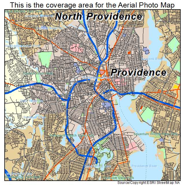 Aerial Photography Map of Providence, RI Rhode Island