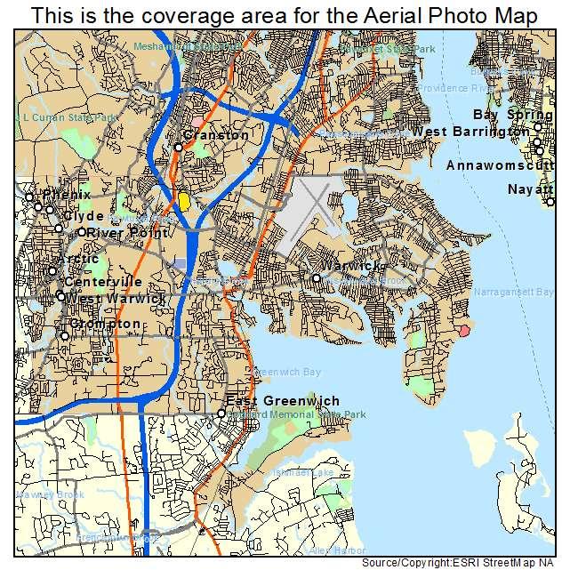 Aerial Photography Map Of Warwick RI Rhode Island