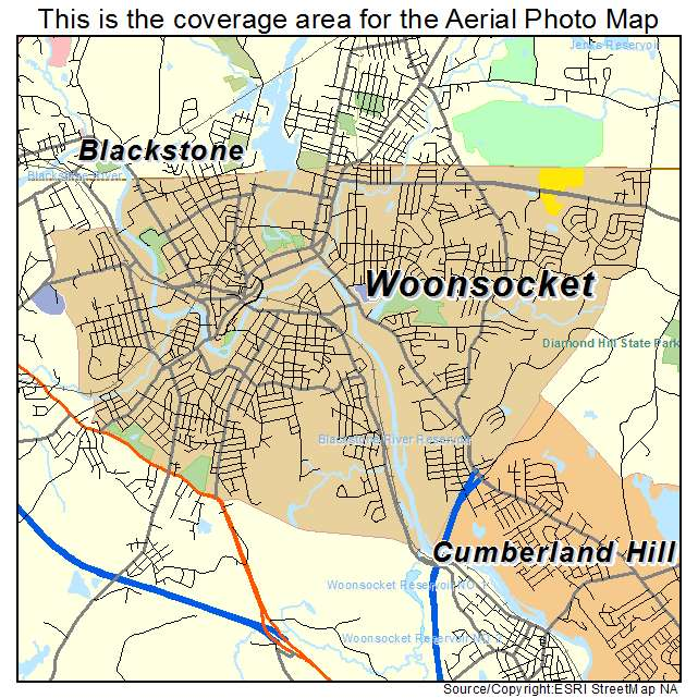 Aerial Photography Map of Woonsocket RI Rhode Island