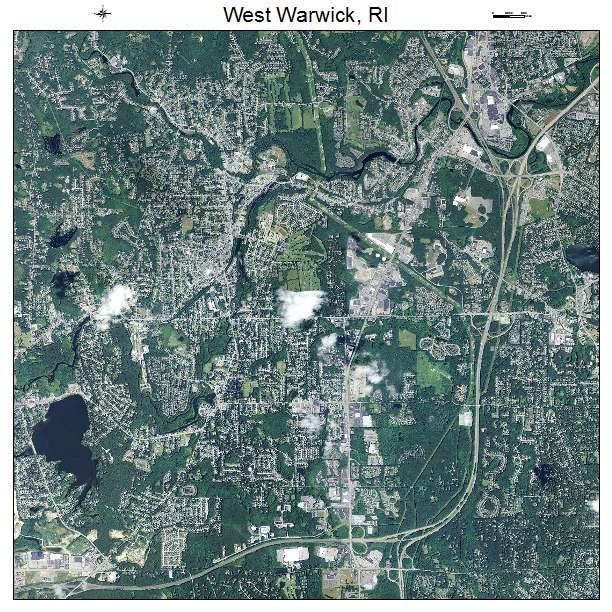 Aerial Photography Map of West Warwick RI Rhode Island