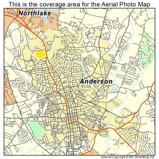 aerial photography map of anderson sc south carolina