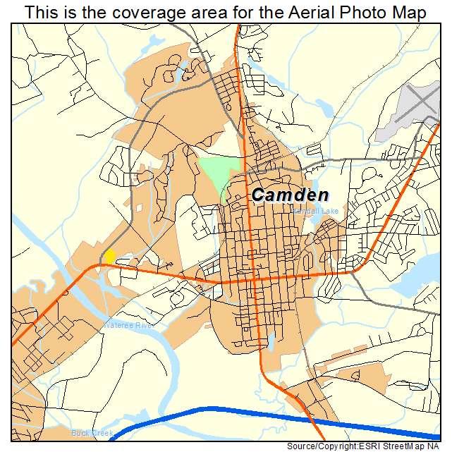 Aerial Photography Map of Camden, SC South Carolina on