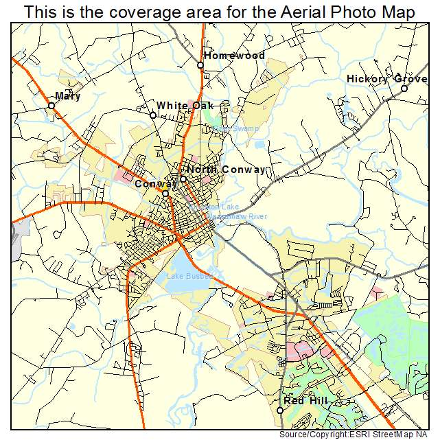 photo regarding Printable Map of South Carolina referred to as Conway, SC South Carolina Aerial Pictures Map 2015