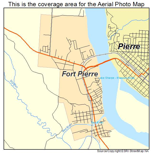 Aerial Photography Map Of Fort Pierre SD South Dakota