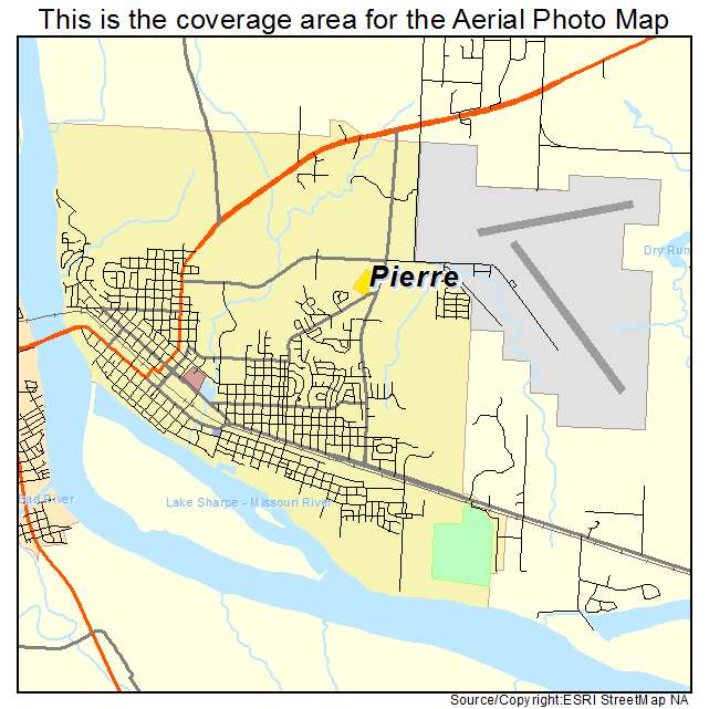 Aerial Photography Map Of Pierre SD South Dakota